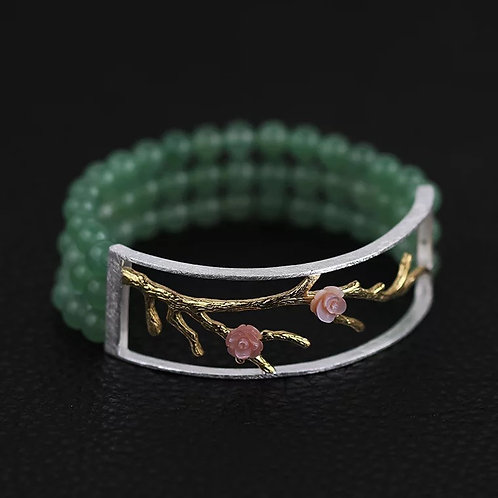 Three-strand Green Jade Beads Bracelet with Chinese blossoms
