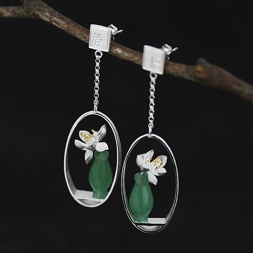Jadeite Vase Drop Earrings