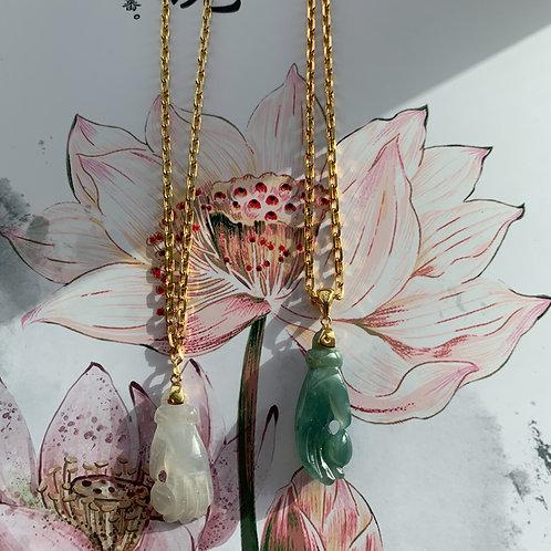 Jadeite Buddha's Hands Pendant Gold Chain Necklace