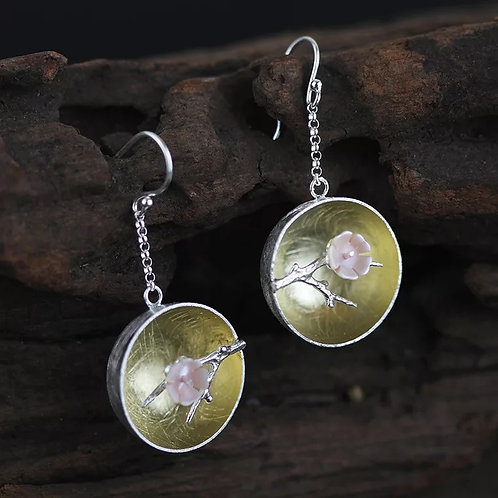 Chinese Pink Blossom Drop Earrings