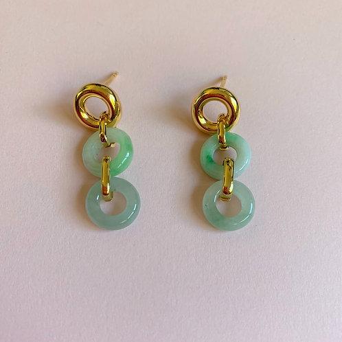 The Summer Ripple Jade Hoops Earrings