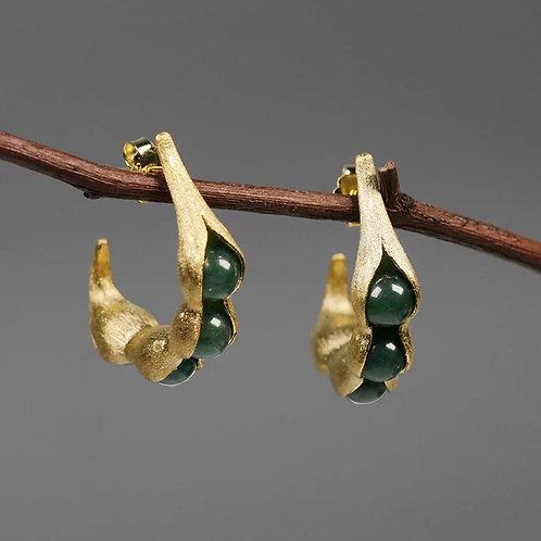 Jadeite Peapods Earrings, Yellow Gold