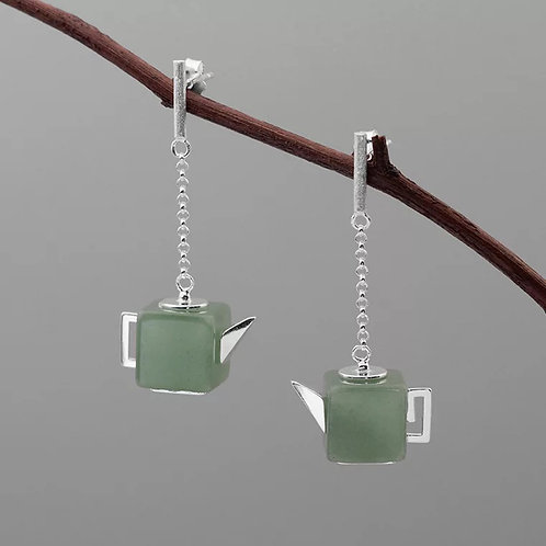 Jadeite Teapot Drop Earrings