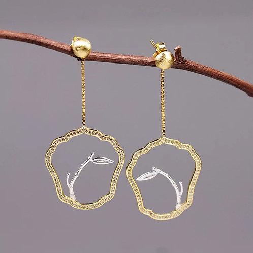 Chinese Moon-shaped Fan Earrings