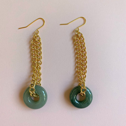 Connect the Past and Future Jadeite Hoop Earrings