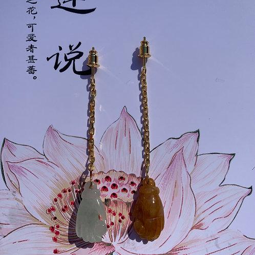 Jadeite Buddha's Hand Earrings