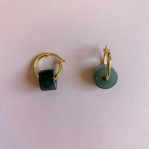 Small Double Luck Jadeite Gold Hoops