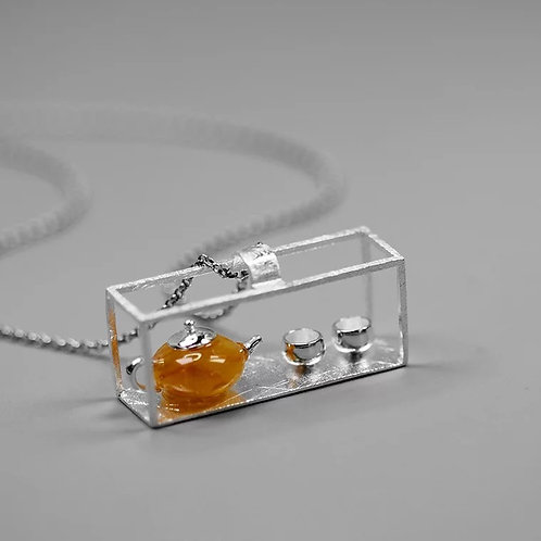 Chinese Teapot and Silver Teacup Pendant