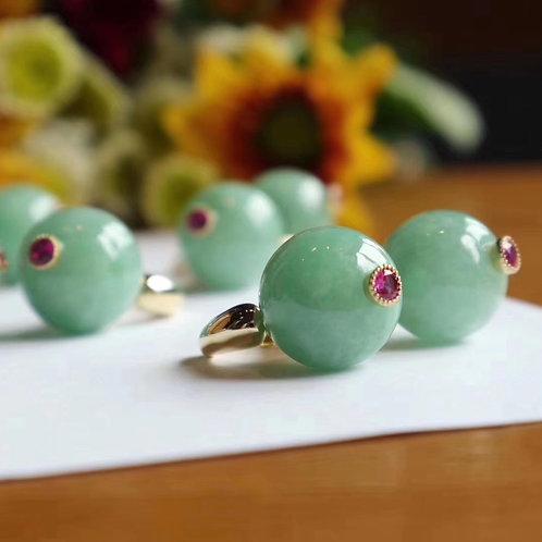 Jadeite Huggie Earrings with Pink Zirconia