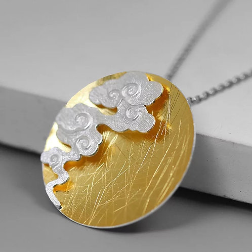 Chinese Lucky Clouds Pendant, Two Tones