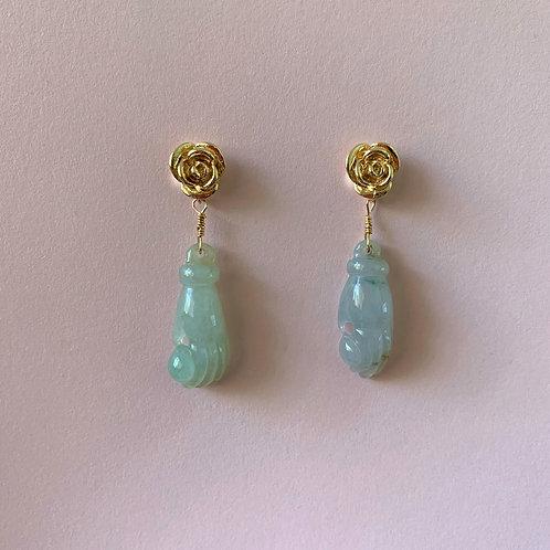 'Flowers and Buddha's Hand' Jade Earrings