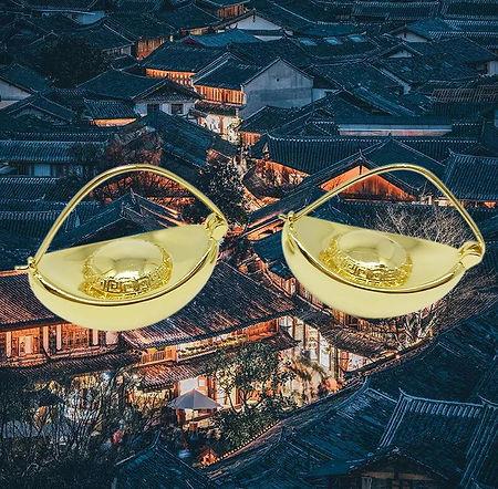 LINYUAN JEWELLERY - CHINESE INGOT EARRIN