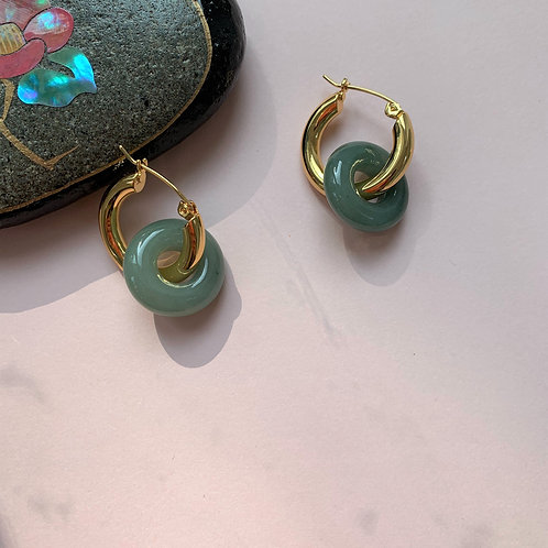 The Double Luck Jadeite Gold Hoops