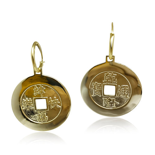 Chinese Golden Coin Earrings