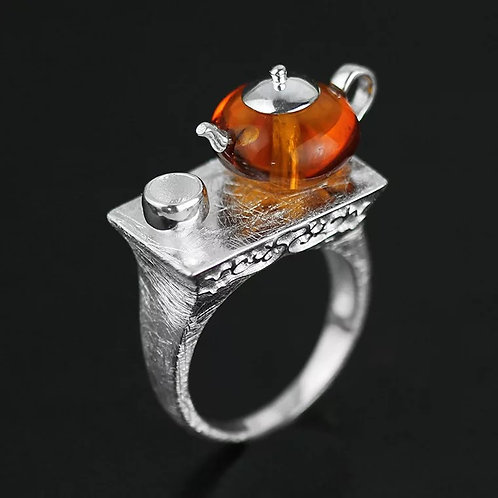 Amber Teapot on the Ring, Sterling Silver