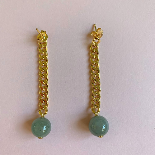The Falling Jade Bead Chain Drop Earrings