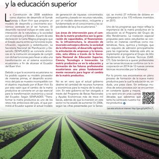 El cambio de la matriz productiva y la educación superior