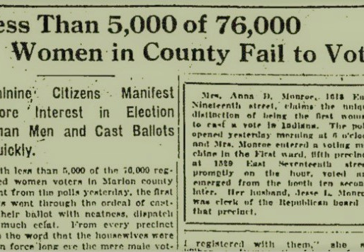 1920: Indy prepares for a flood of first-time female voters