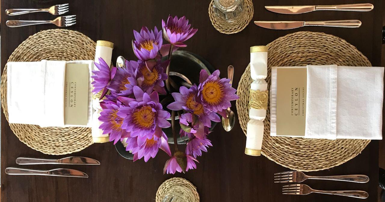 Table settting with Sri Lankan Olu Flowers
