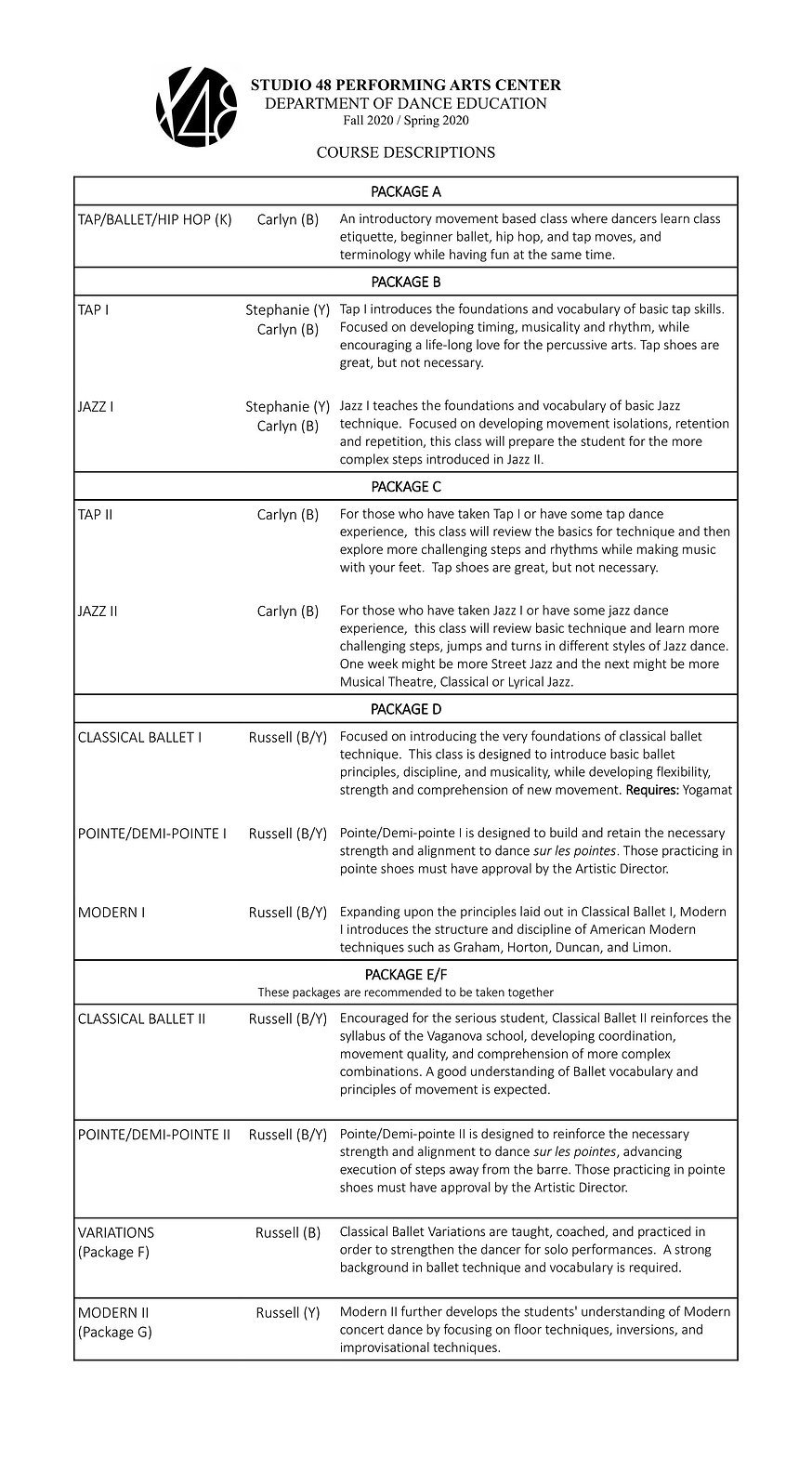 Studio 48 2020 Course Descriptions one.j