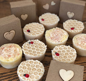 Honay & Oat goat's milk soaps with lady bird and Himalayan Pink Salt Soaps. Ready to go in papier mache boxes embellished with wooden hearts.