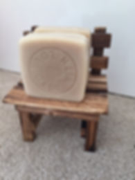 Soaps on a miniature wooden chair