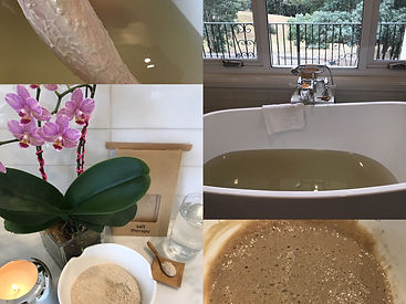 Bath filled with water, leg showing a clay bath, clay and salt therapy bath