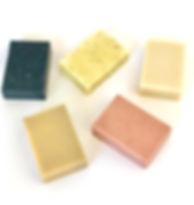 Natural soaps blocks, pink and black