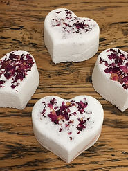 Cutesy heart shaped rose scented bath bombs