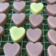 Pink clay and sweet orange natural soap hearts