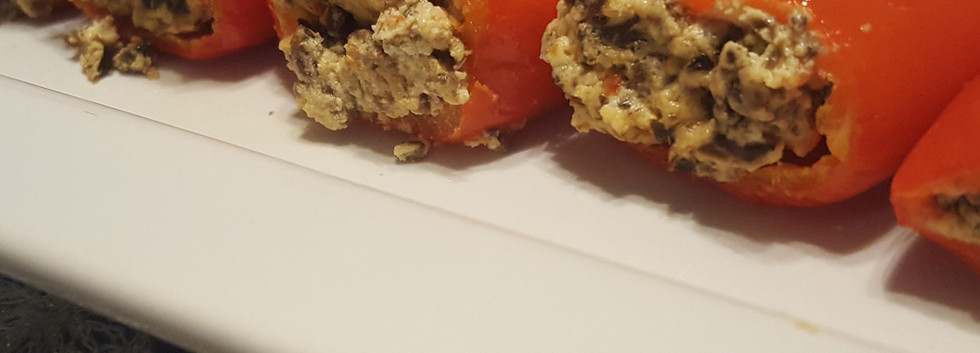 Olive Tapenade and mascarpone cheese stuffed peppers
