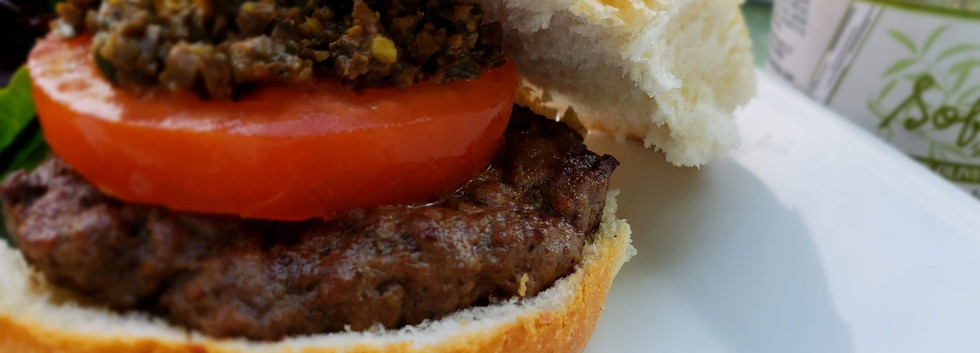 Olive Tapenade on beef burger