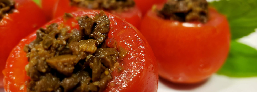 Olive Tapenade filled mini tomatos