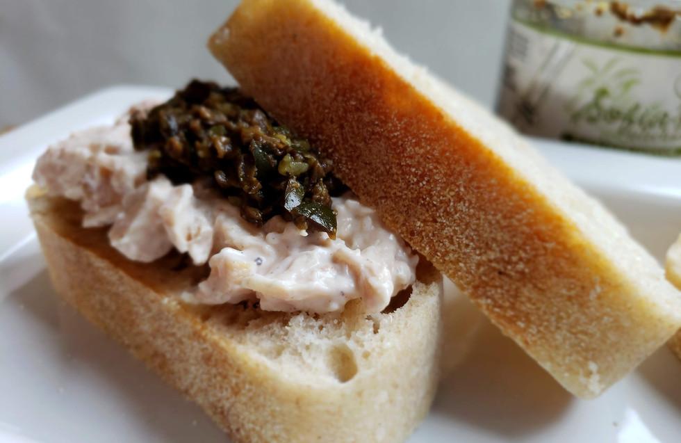 Olive Tapenade on chicken salad mini sandwich