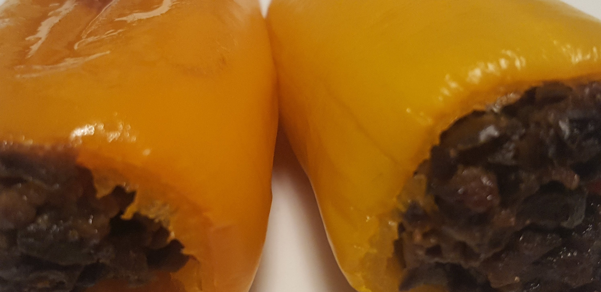Olive Tapenade filled orange peppers