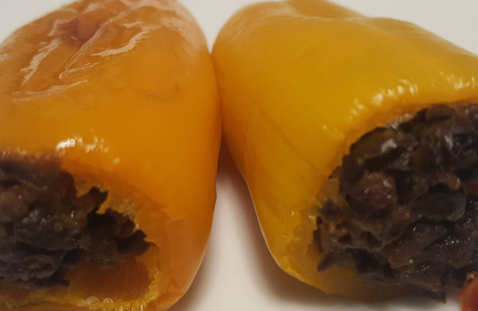 Olive Tapenade filled orange peppers