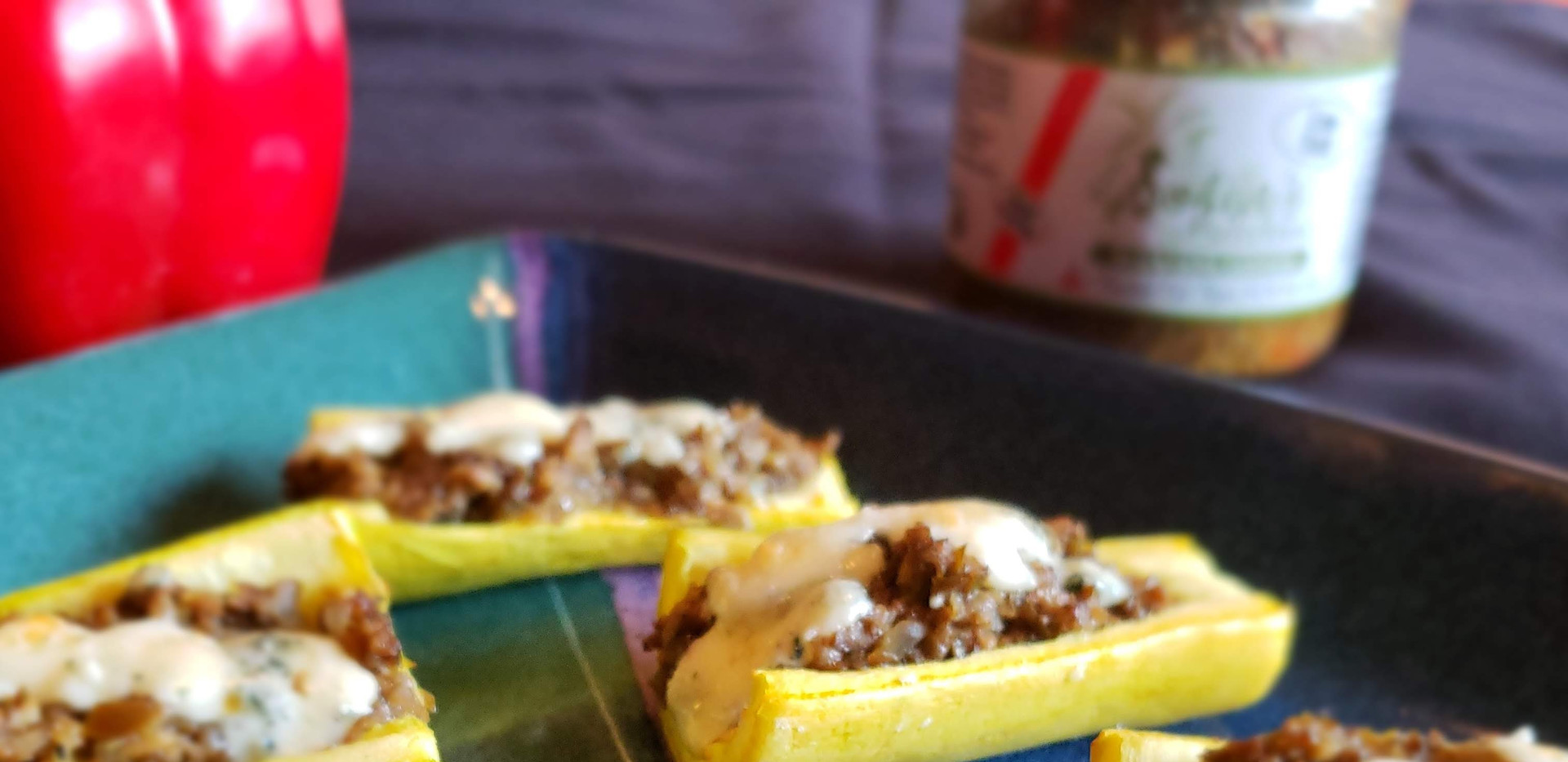 Olive Tapenade on grilled squash & gorgonzola