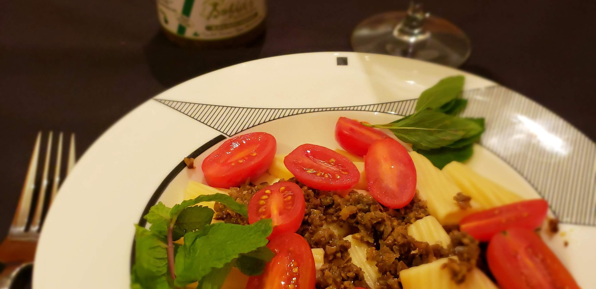 Olive Tapenade on pasta & cherry tomato