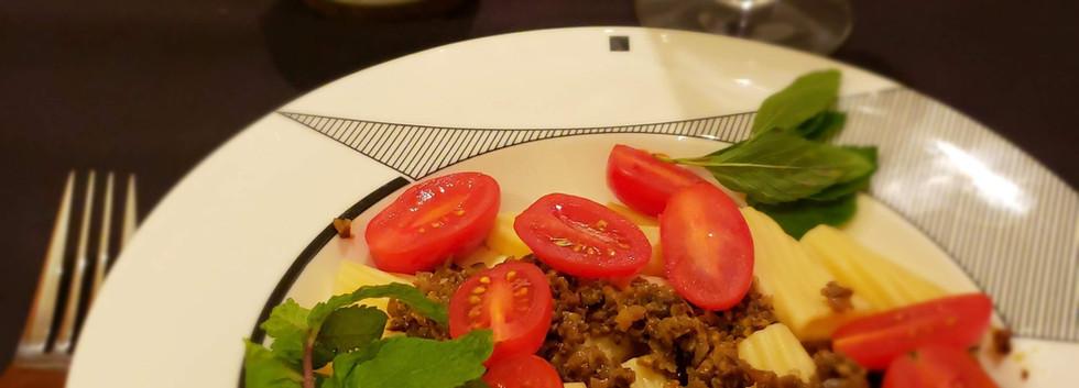 Olive Tapenade on pasta & cherry tomato