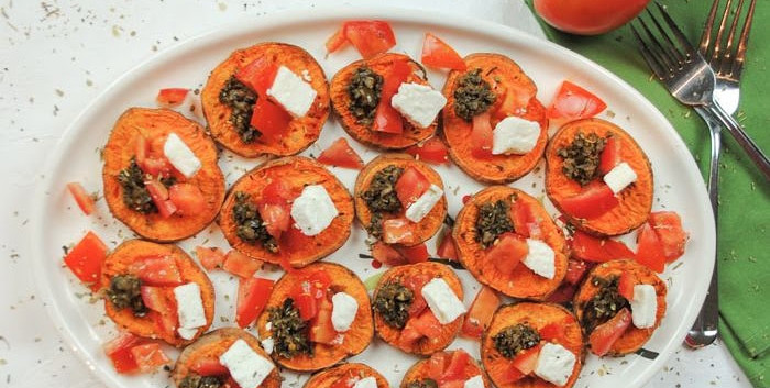 Olive Tapenade on roasted sweet potato with feta
