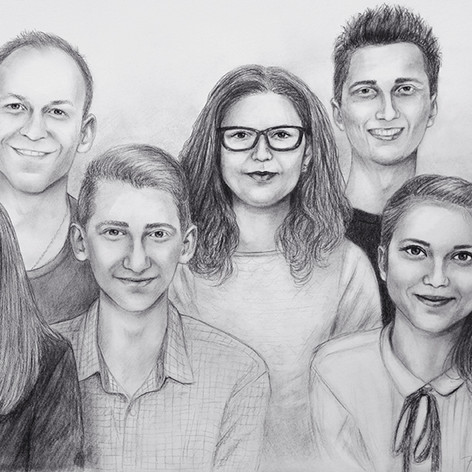 skupinový portrét podle fotografie