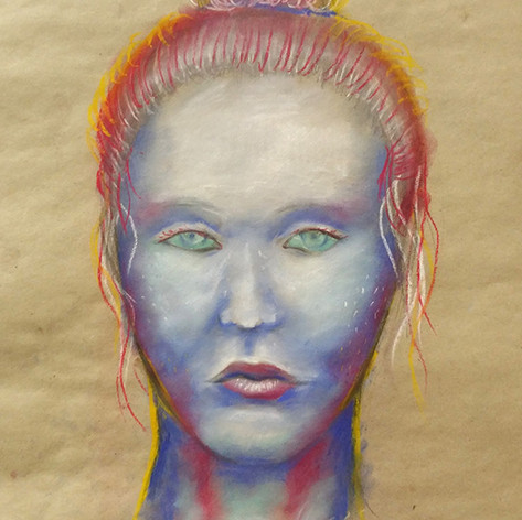portrét barevným pastelem