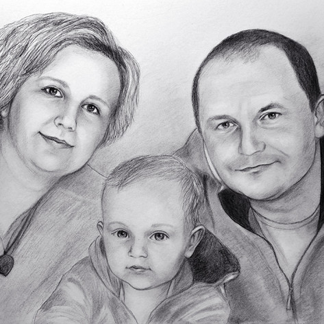 kresba rodiny podle fotografie