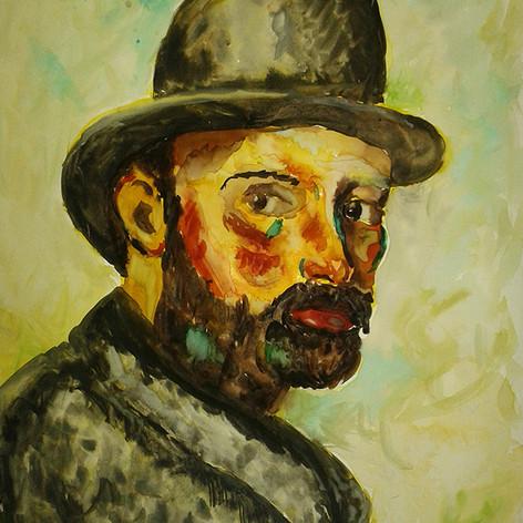 malovaný portrét podle reprodukce