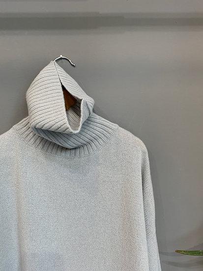 Pull collo alto azzurro chiaro diamante 100% lana Made in Italy