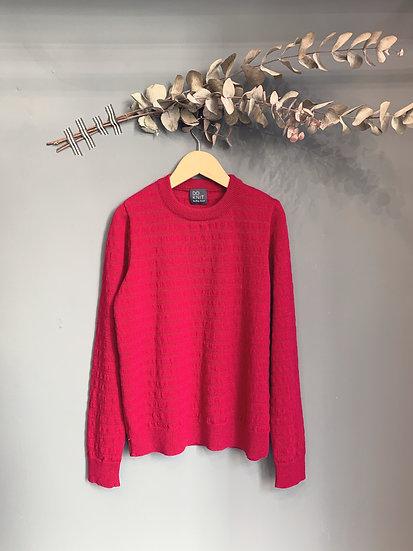 maglioncino traforato particolare ciliegia 100% lana made in italy