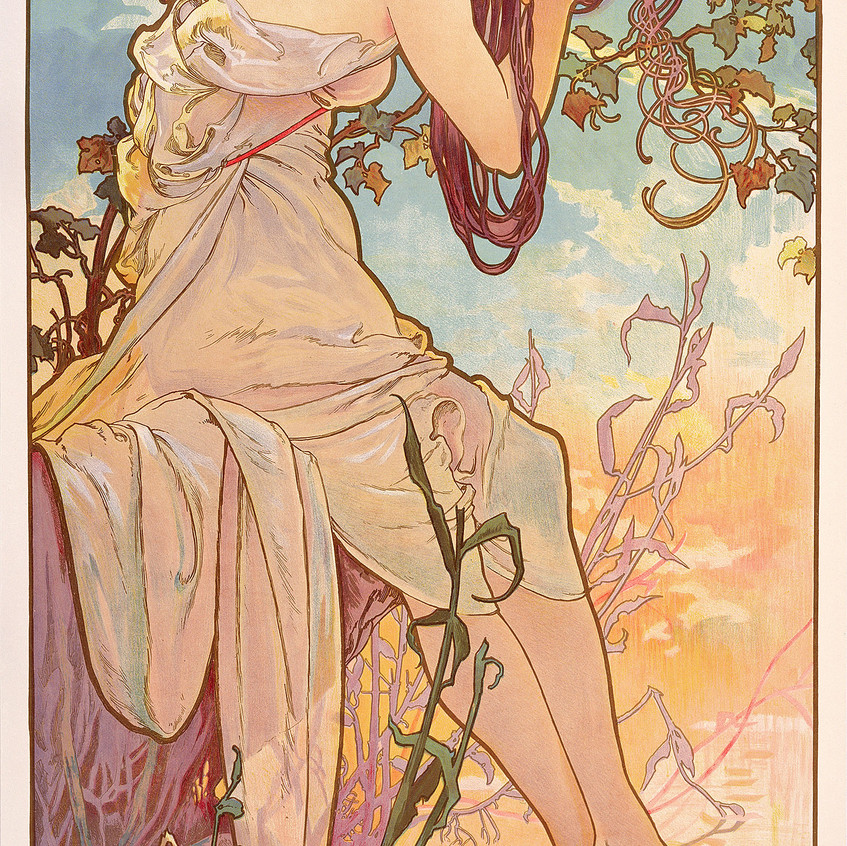 1896 series of four decorative panels, litography in color 103 x 54 cm Prague, Fondation Mucha © Mucha Trust 2018