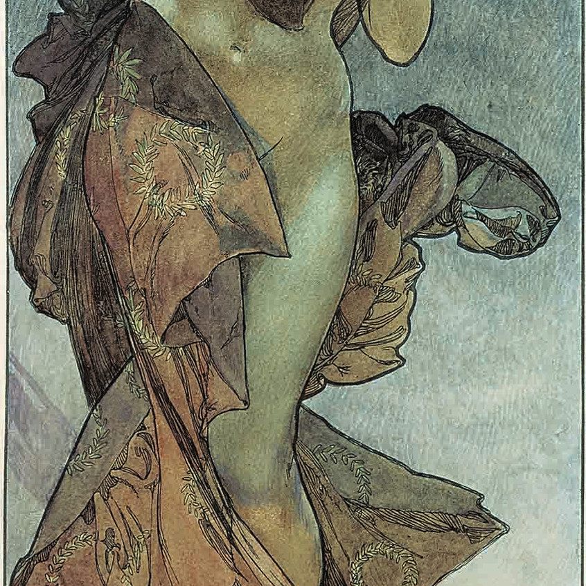 """Study for """"The star of the morning""""  1902 Watercolor on sketch lithographed in color,  56 x 21 cm Fondation Mucha, Prague © Mucha Trust 2018"""
