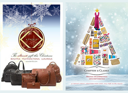 Christmas adverts designed for luxury home and giftware brands