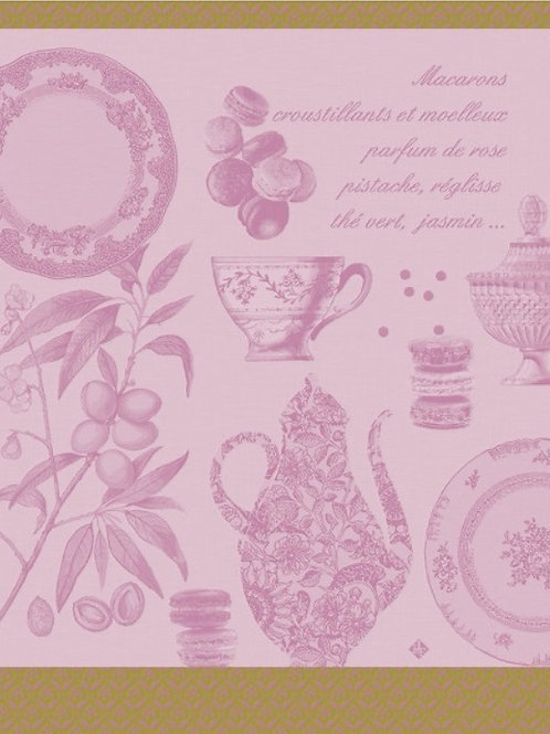 Macarons 100% cotton French tea-towel in pink